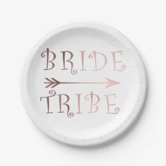 elegant faux rose gold bride tribe design paper plate