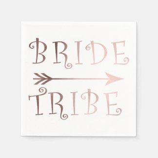 elegant faux rose gold bride tribe design paper serviettes