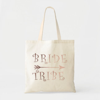 elegant faux rose gold bride tribe design tote bag