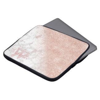 Elegant faux rose gold confetti white marble image laptop sleeve