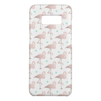 elegant faux rose gold flamingos mint polka dots Case-Mate samsung galaxy s8 case