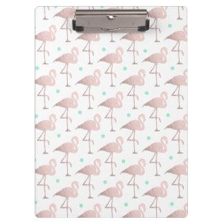 elegant faux rose gold flamingos mint polka dots clipboard