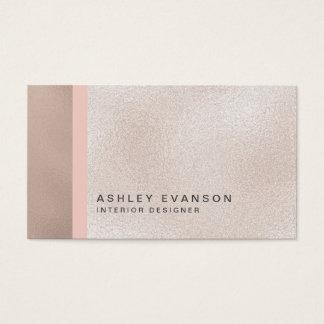 Elegant Faux Rose Gold Foil Colorblock Pattern Business Card