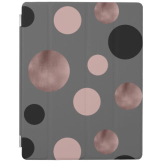 elegant faux rose gold foil pink black circles iPad cover