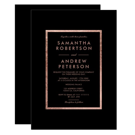 Elegant faux rose gold frame simple wedding card