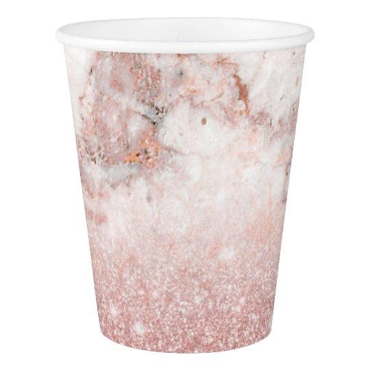 Elegant Faux Rose Gold Glitter White Marble Ombre