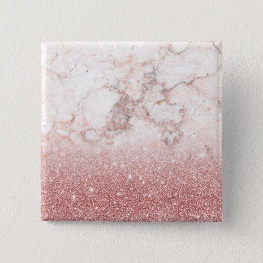 Elegant Faux Rose Gold Glitter White Marble Ombre 15 Cm Square Badge