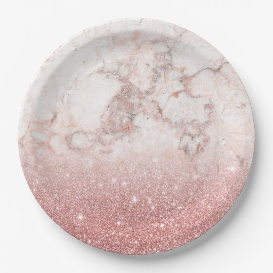 Elegant Faux Rose Gold Glitter White Marble Ombre 9 Inch Paper Plate