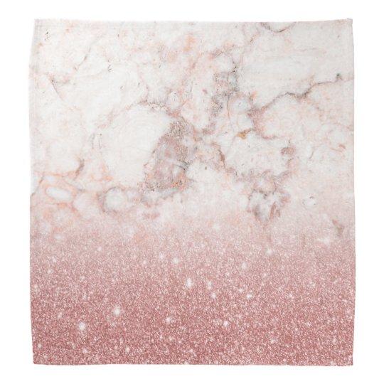 Elegant Faux Rose Gold Glitter White Marble Ombre Bandana