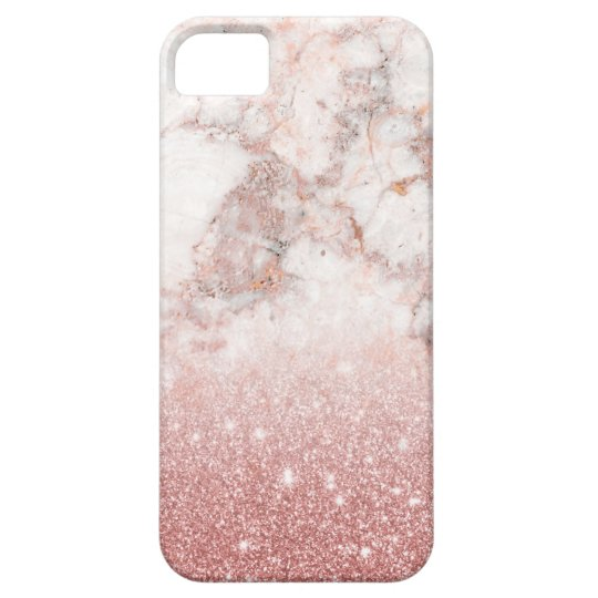 Elegant Faux Rose Gold Glitter White Marble Ombre Barely There iPhone 5 Case