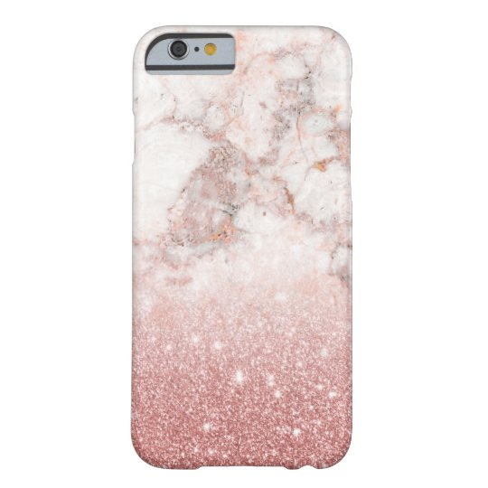 Elegant Faux Rose Gold Glitter White Marble Ombre Barely There iPhone 6 Case