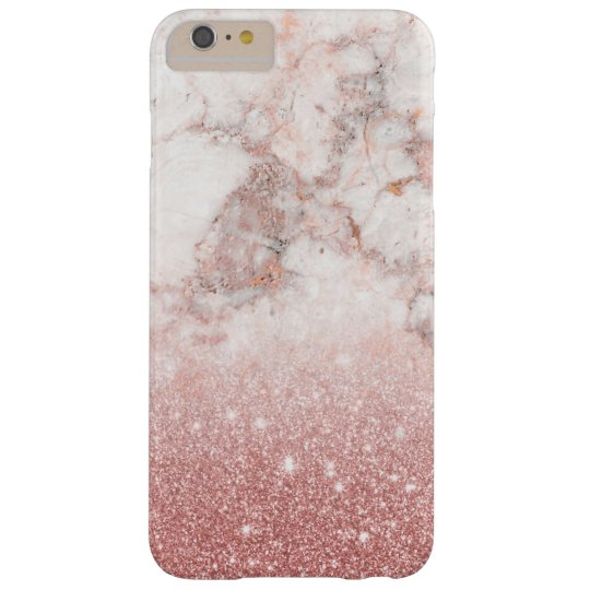 Elegant Faux Rose Gold Glitter White Marble Ombre Barely There iPhone 6 Plus Case