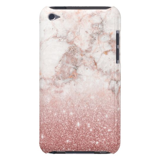 Elegant Faux Rose Gold Glitter White Marble Ombre Barely There iPod Case