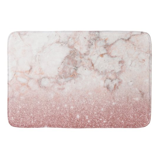 Elegant Faux Rose Gold Glitter White Marble Ombre Bath Mats