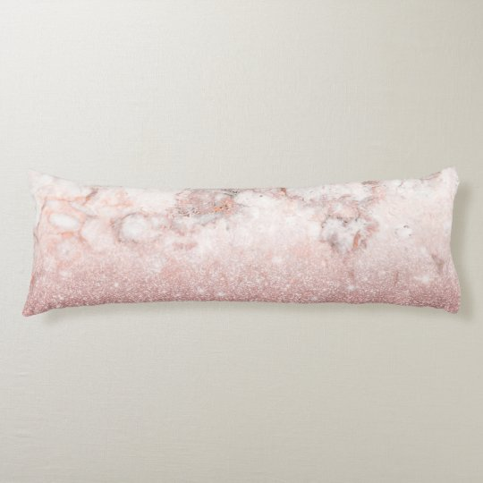 Elegant Faux Rose Gold Glitter White Marble Ombre Body Cushion