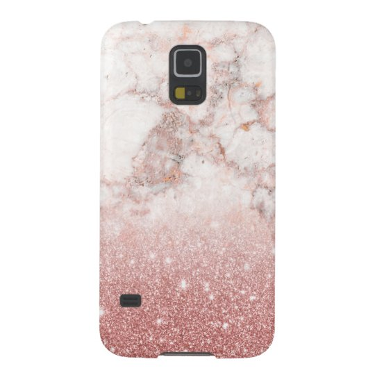 Elegant Faux Rose Gold Glitter White Marble Ombre Cases For Galaxy S5