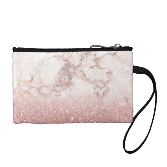 Elegant Faux Rose Gold Glitter White Marble Ombre Change Purse