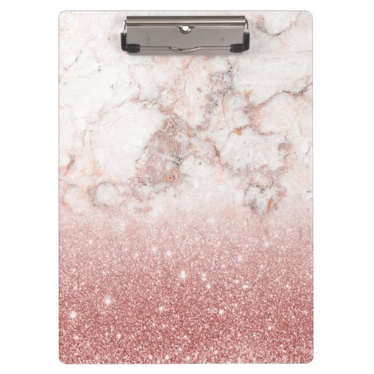 Elegant Faux Rose Gold Glitter White Marble Ombre Clipboard
