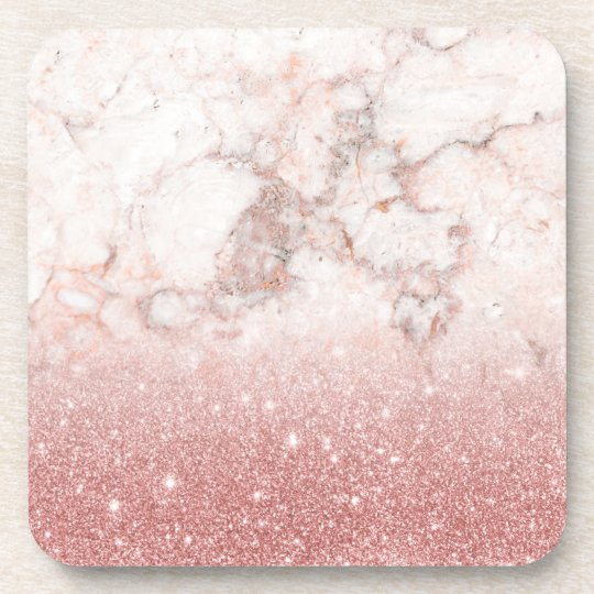 Elegant Faux Rose Gold Glitter White Marble Ombre Coasters