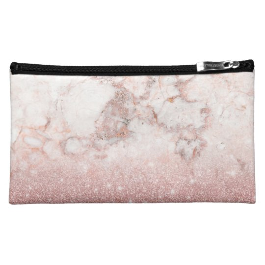 Elegant Faux Rose Gold Glitter White Marble Ombre Cosmetic Bag
