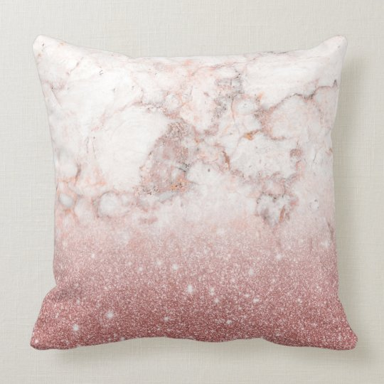 Elegant Faux Rose Gold Glitter White Marble Ombre Cushion