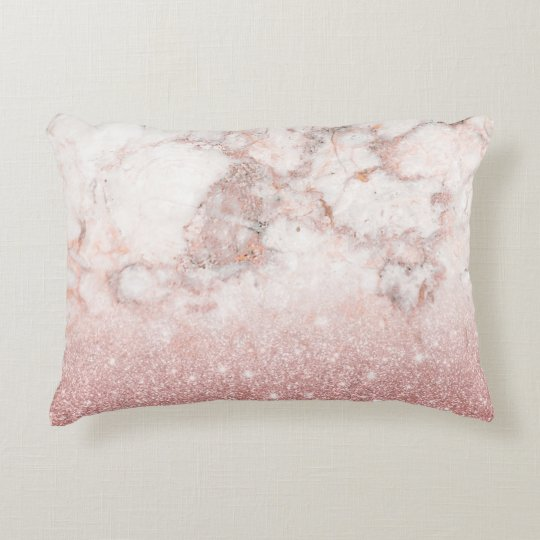 Elegant Faux Rose Gold Glitter White Marble Ombre Decorative Cushion