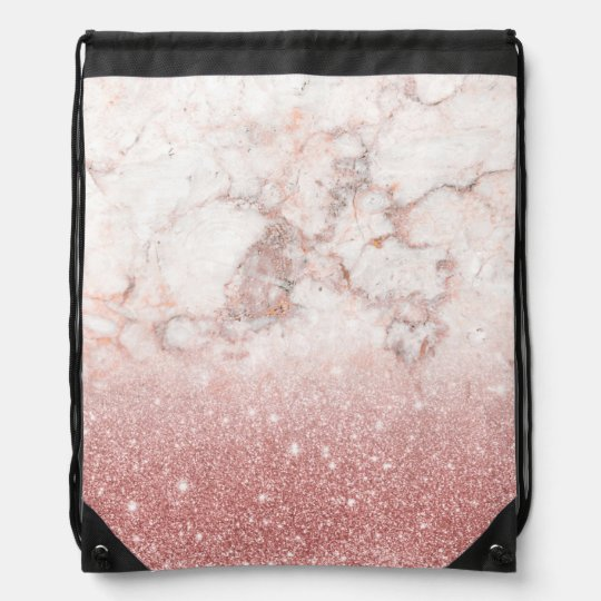 Elegant Faux Rose Gold Glitter White Marble Ombre Drawstring Backpack