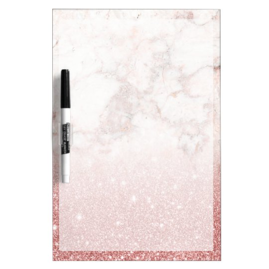 Elegant Faux Rose Gold Glitter White Marble Ombre Dry-Erase Boards