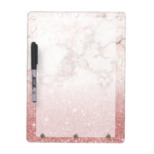 Elegant Faux Rose Gold Glitter White Marble Ombre Dry Erase Whiteboard