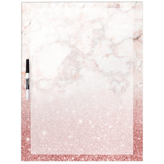 Elegant Faux Rose Gold Glitter White Marble Ombre Dry-Erase Whiteboards