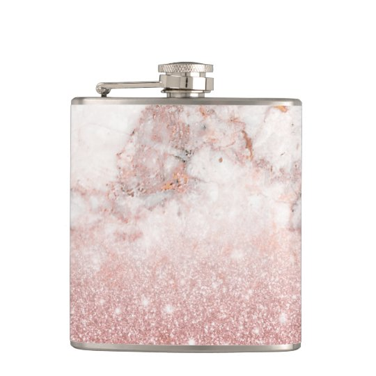 Elegant Faux Rose Gold Glitter White Marble Ombre Flask