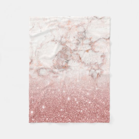 Elegant Faux Rose Gold Glitter White Marble Ombre Fleece Blanket