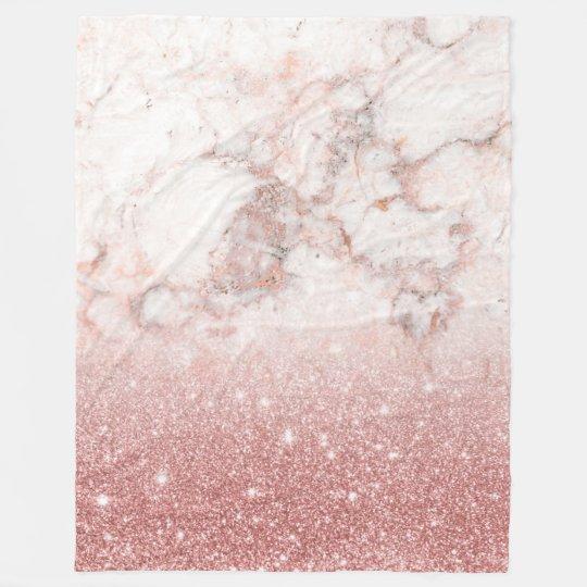 Elegant Faux Rose Gold Glitter White Marble Ombre Fleece Blanket