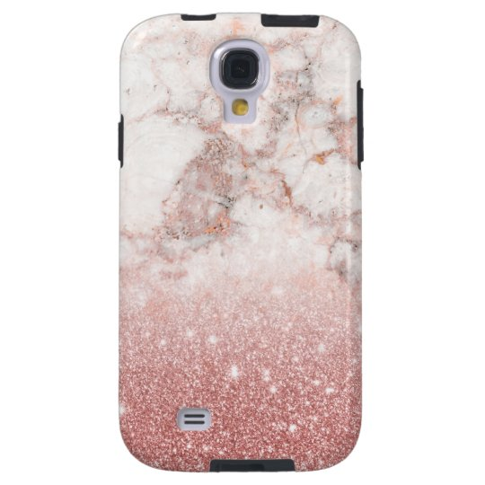 Elegant Faux Rose Gold Glitter White Marble Ombre Galaxy S4 Case
