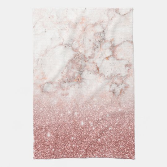 Elegant Faux Rose Gold Glitter White Marble Ombre Hand Towels
