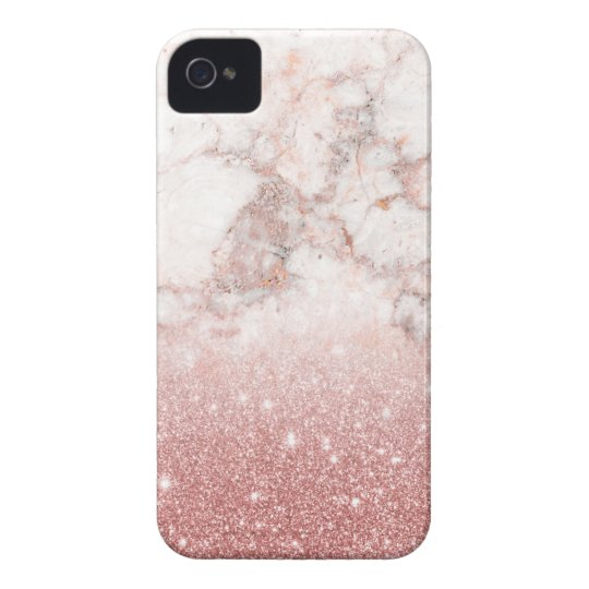 Elegant Faux Rose Gold Glitter White Marble Ombre iPhone 4 Case