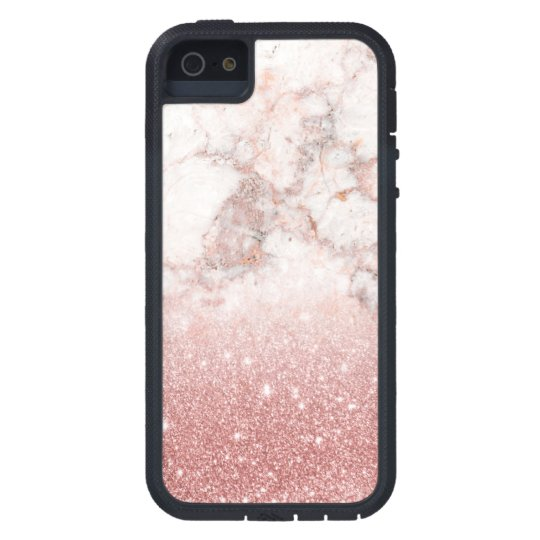 Elegant Faux Rose Gold Glitter White Marble Ombre iPhone 5 Cases
