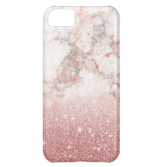 Elegant Faux Rose Gold Glitter White Marble Ombre iPhone 5C Case