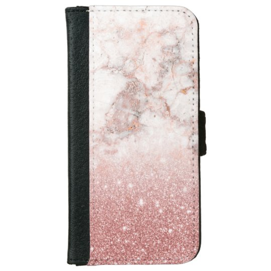 Elegant Faux Rose Gold Glitter White Marble Ombre iPhone 6 Wallet Case
