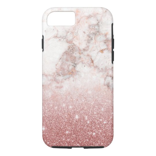 Elegant Faux Rose Gold Glitter White Marble Ombre iPhone 8/7 Case
