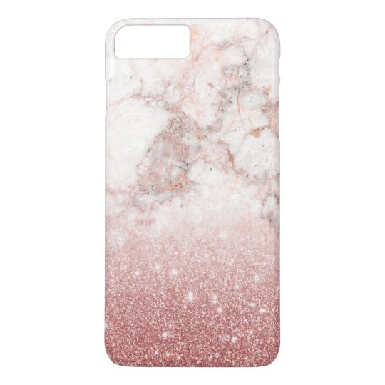 Elegant Faux Rose Gold Glitter White Marble Ombre iPhone 8 Plus/7 Plus Case