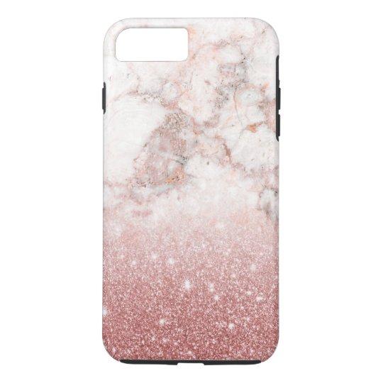 Elegant Faux Rose Gold Glitter White Marble Ombre iPhone 8 Plus/7 Plus Case