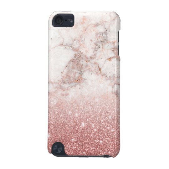 Elegant Faux Rose Gold Glitter White Marble Ombre iPod Touch 5G Cover