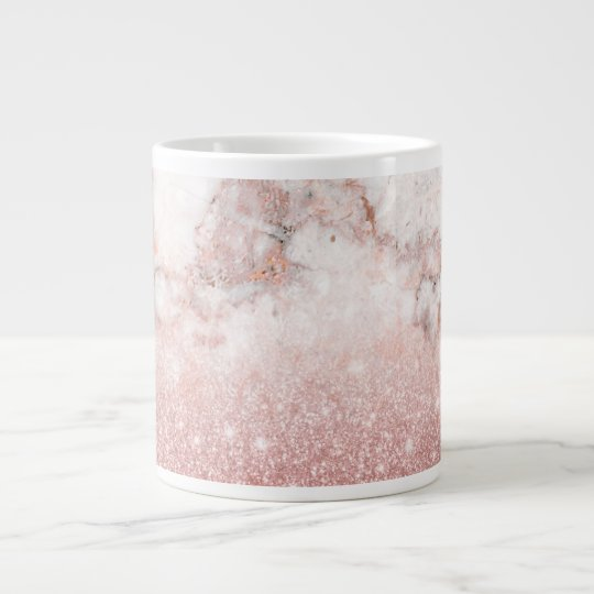 Elegant Faux Rose Gold Glitter White Marble Ombre Large Coffee Mug