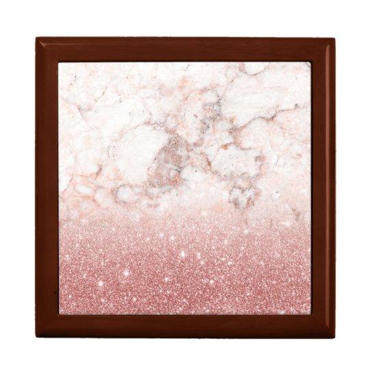 Elegant Faux Rose Gold Glitter White Marble Ombre Large Square Gift Box