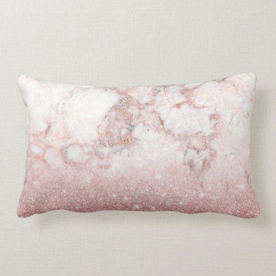 Elegant Faux Rose Gold Glitter White Marble Ombre Lumbar Cushion