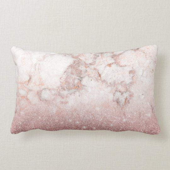 Elegant Faux Rose Gold Glitter White Marble Ombre Lumbar Pillow