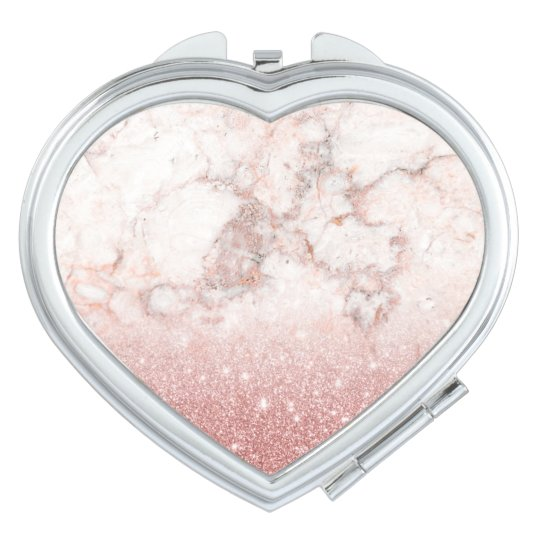 Elegant Faux Rose Gold Glitter White Marble Ombre Mirror For Makeup