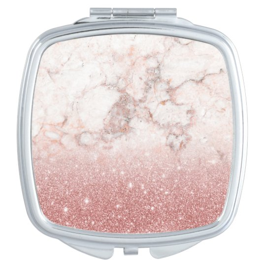 Elegant Faux Rose Gold Glitter White Marble Ombre Mirrors For Makeup