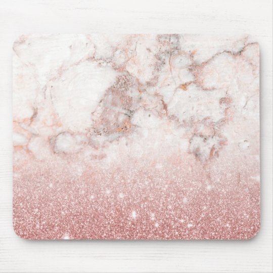 Elegant Faux Rose Gold Glitter White Marble Ombre Mouse Pad